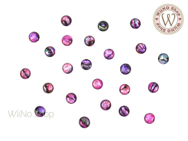 4mm Purple Pink Natural Seashell Round Cabochon Nail Art - 10 pcs