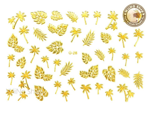 Gold Palm Tree and Leaves Adhesive Nail Art Sticker - 1 pc (G-28)