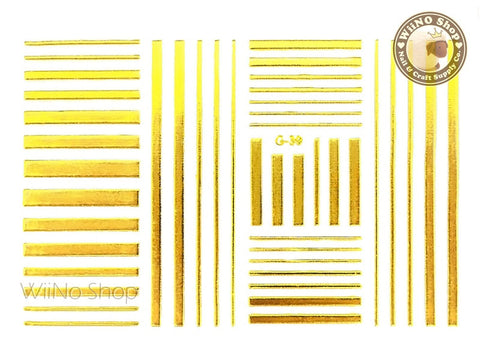 Gold Stripe Line Adhesive Nail Art Sticker - 1 pc (G-39)