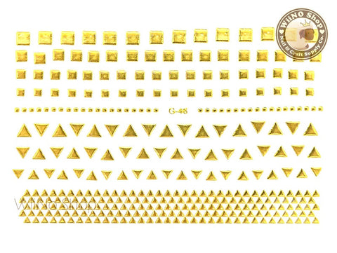 Gold Triangle Square Adhesive Nail Art Sticker - 1 pc (G-46)