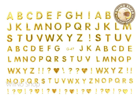 Gold Letters Adhesive Nail Art Sticker - 1 pc (G-47)