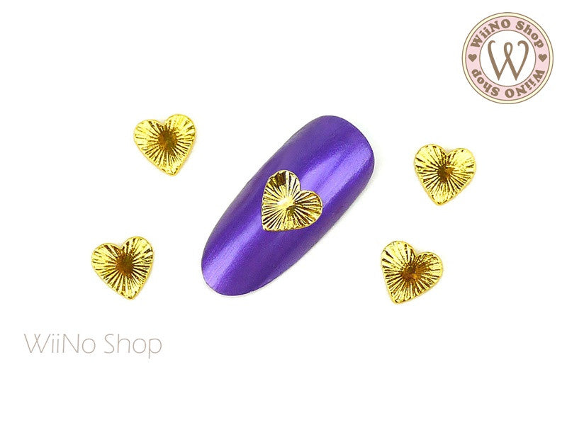 Shiny Heart Nail Metal Charm - 2 pcs