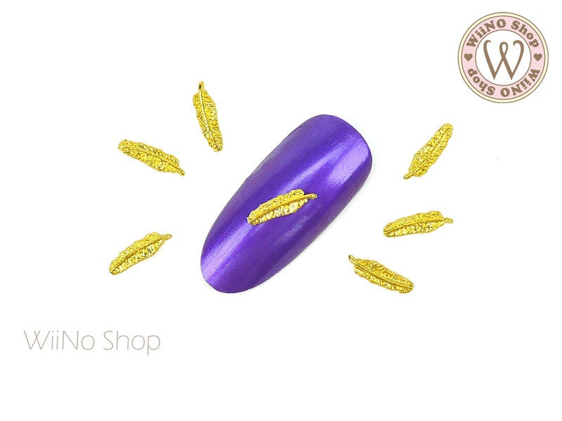 Gold Feather Nail Metal Charm - 2 pcs (FT05G)