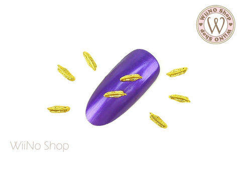 Gold Mini Feather Nail Metal Charm - 2 pcs (FT06G)