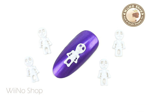 White Halloween Skeleton Nail Metal Charm - 2 pcs