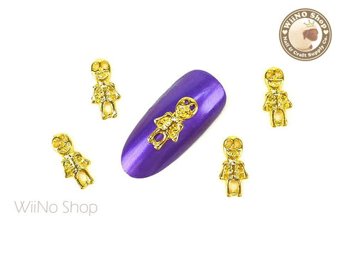 Gold Halloween Skeleton Nail Metal Charm - 2 pcs