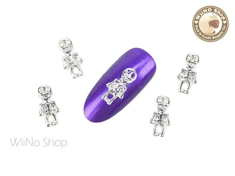 Silver Halloween Skeleton Nail Metal Charm - 2 pcs