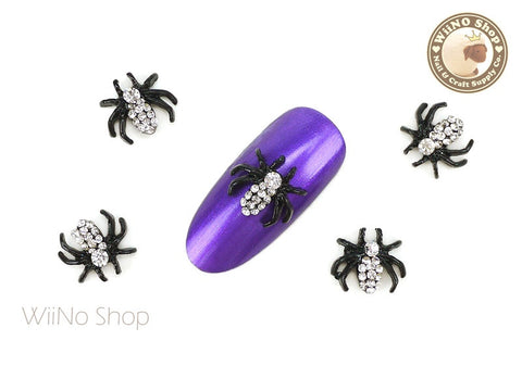 Crystal Black Spider Nail Metal Charm - 2 pcs