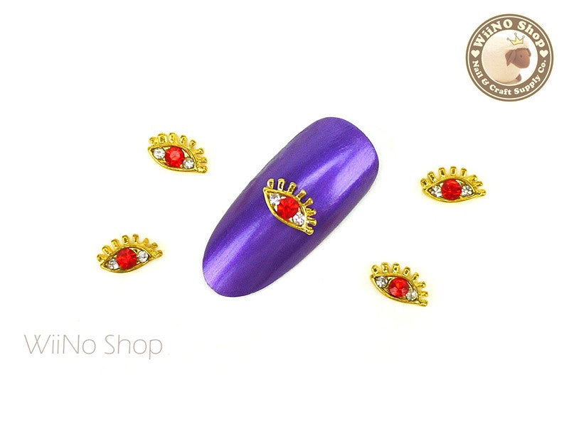 Red Crystal Eye Nail Metal Charm - 2 pcs