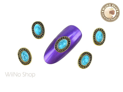 Oval Turquoise Vintage Frame Nail Metal Charm - 2 pcs