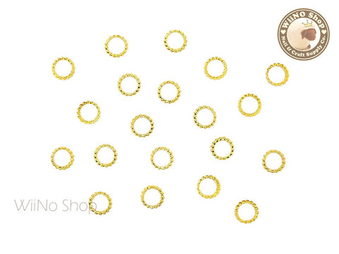 5mm Gold Round Circle Frame Metal Studs - 10 pcs