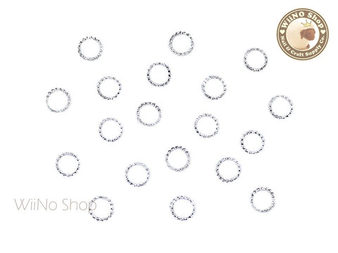 5mm Silver Round Circle Frame Metal Studs - 10 pcs