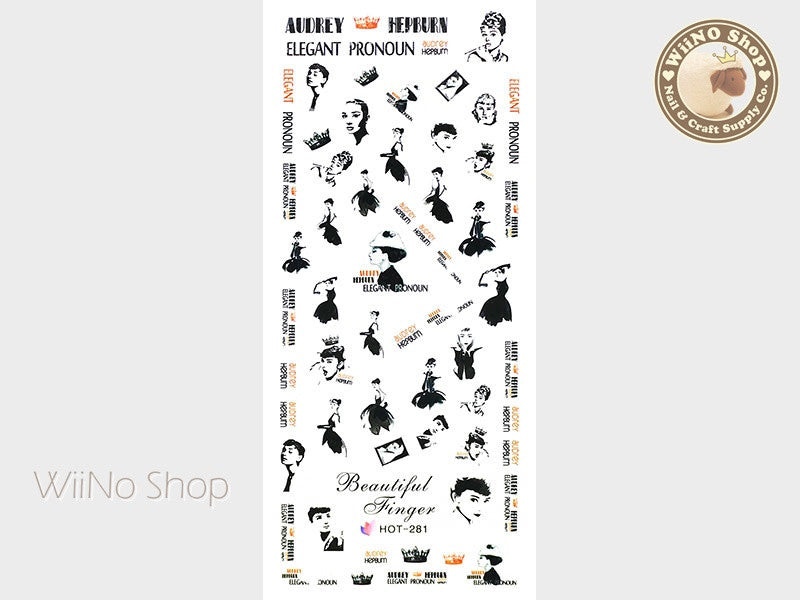 Audrey Hepburn Water Slide Nail Art Decals - 1pc (HOT-281)