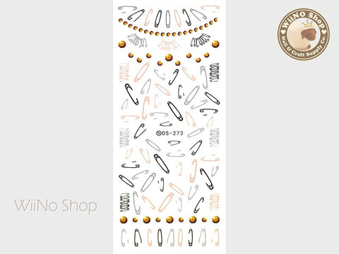 Safety Pin Water Slide Nail Art Decals - 1pc (DS-273)