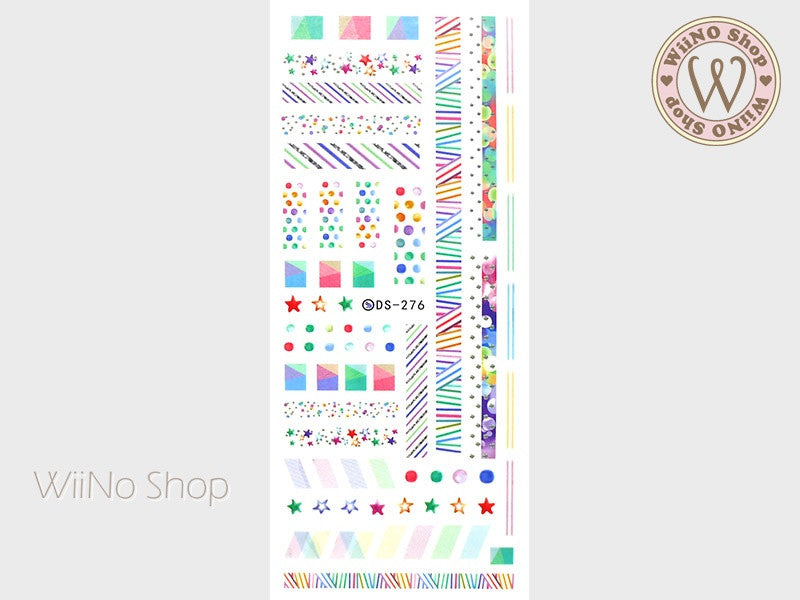 Colorful Geometry Stripe Pattern Water Slide Nail Art Decals - 1pc (DS-276)