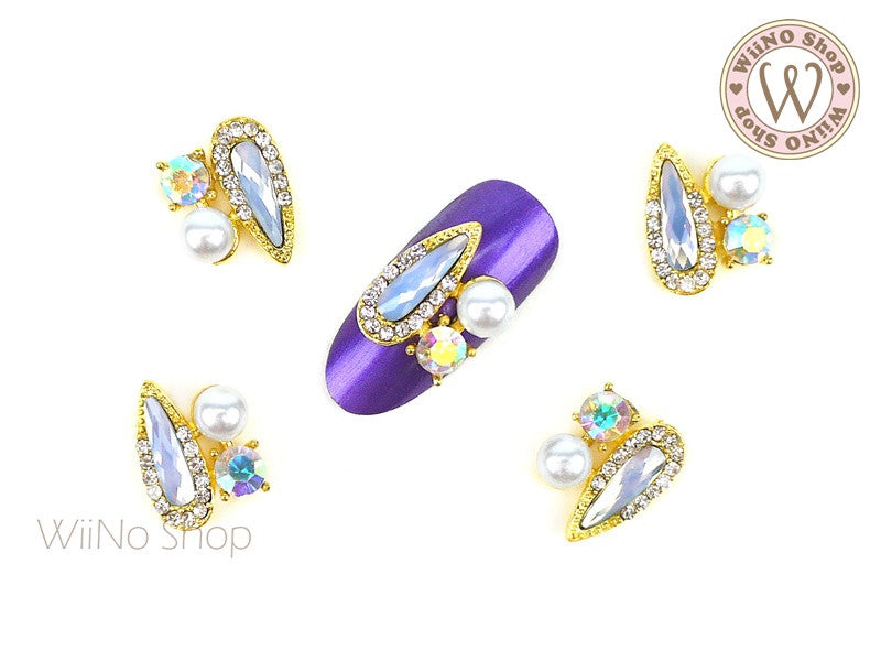 Opal Drop Crystal Fancy Cluster Nail Metal Charm - 2 pcs