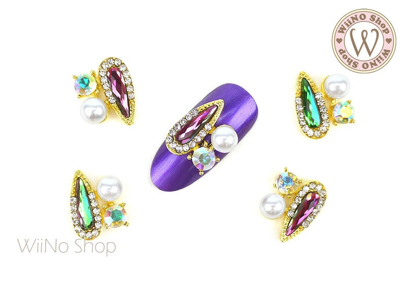AB Volcano Drop Crystal Fancy Cluster Nail Metal Charm - 2 pcs