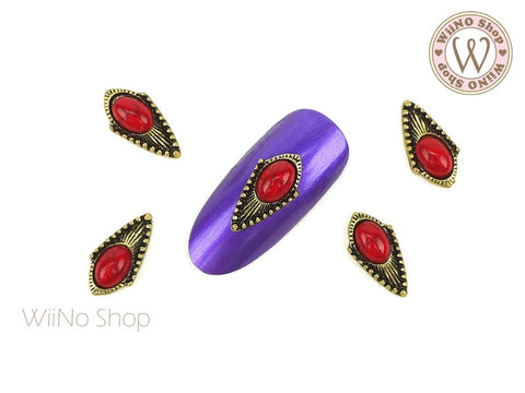Red Turquoise Vintage Gold Bohemian Shield Nail Metal Charm - 2 pcs