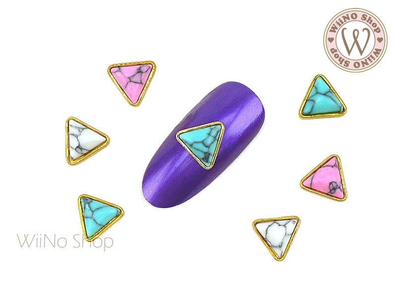 Triangle Turquoise Gemstone Nail Metal Charm - 2 pcs