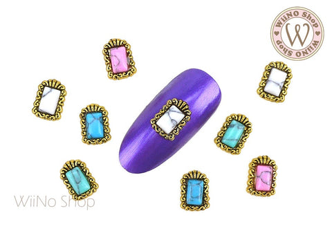 Rectangle Turquoise Gemstone Bohemian Nail Metal Charm - 2 pcs