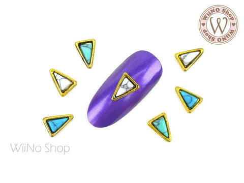 Long Triangle Turquoise Gemstone Nail Metal Charm - 2 pcs