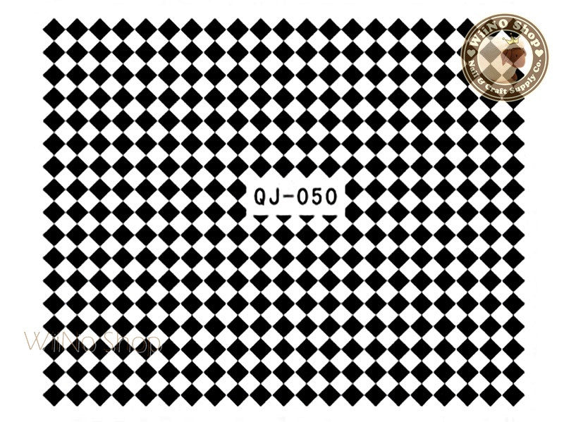 Black Checker Water Slide Nail Art Decals - 1pc (QJ-050)