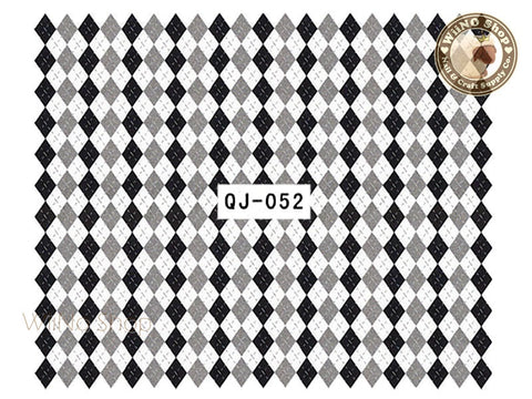 Black Gray Argyle Pattern Water Slide Nail Art Decals - 1pc (QJ-052)
