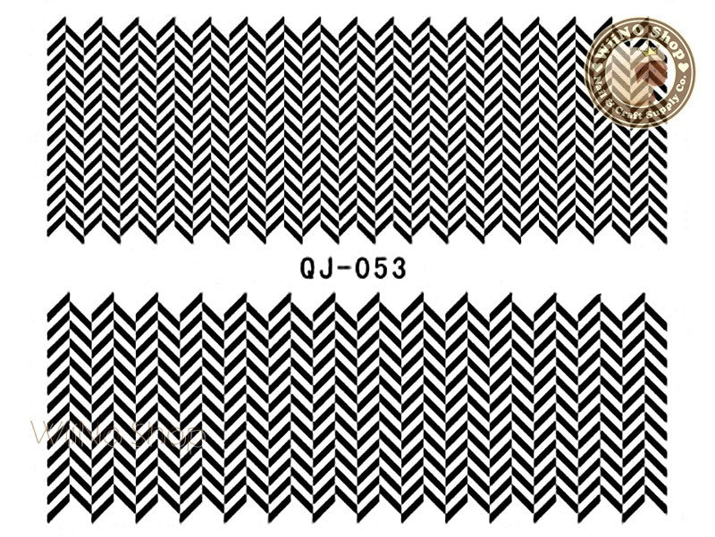 Black Line Chevron Pattern Water Slide Nail Art Decals - 1pc (QJ-053)