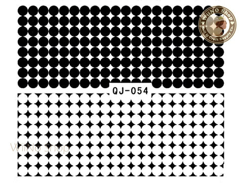 Black Circle Dots Pattern Water Slide Nail Art Decals - 1pc (QJ-054)