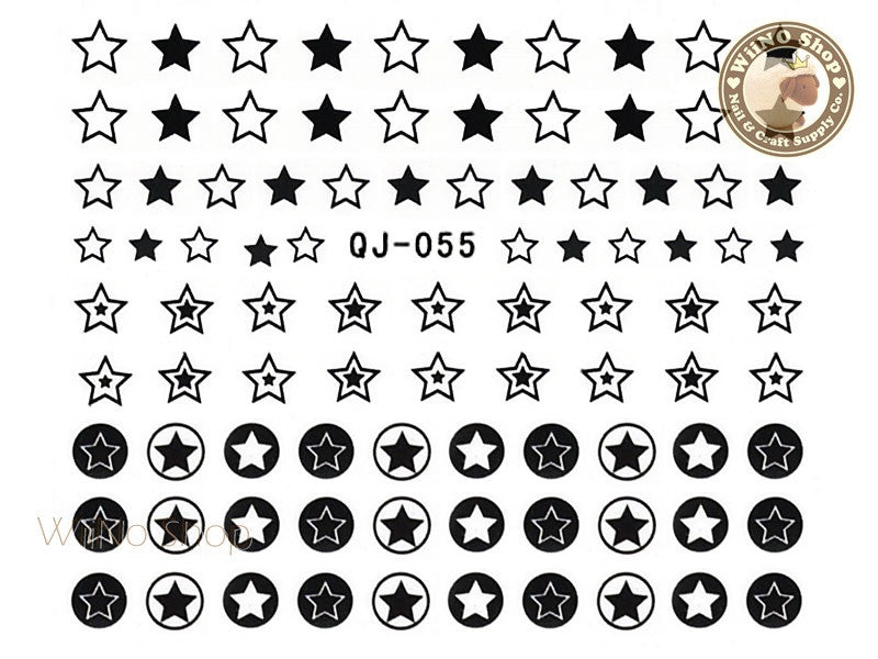 Black Star Water Slide Nail Art Decals - 1pc (QJ-055)