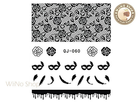Black Flower Lace Water Slide Nail Art Decals - 1pc (QJ-060)
