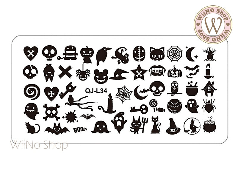 QJ-L34 Halloween Nail Art Stamping Plate Template