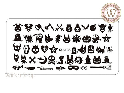 QJ-L35 Halloween Nail Art Stamping Plate Template