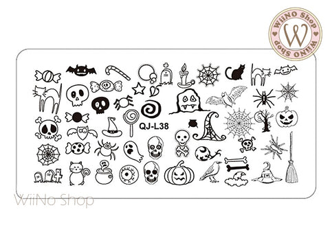 QJ-L38 Halloween Nail Art Stamping Plate Template