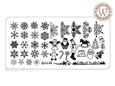 QJ-L42 Snowflake Nail Art Stamping Plate Template