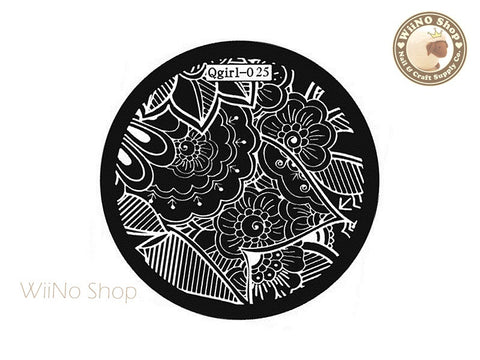 Qgirl-025 Nail Art Stamping Plate Template