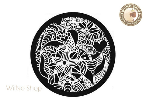 Qgirl-026 Nail Art Stamping Plate Template