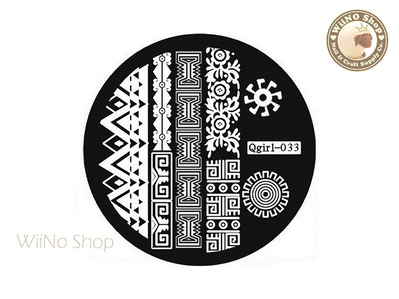 Qgirl-033 Nail Art Stamping Plate Template