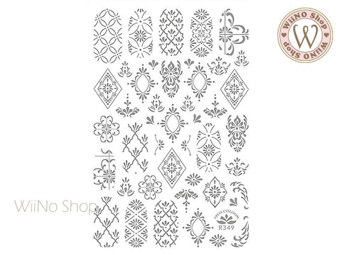 Silver Moroccan Pattern Adhesive Nail Art Sticker - 1 pc (R349-S)