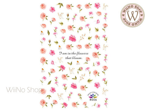 Blooming Flowers Adhesive Nail Art Sticker - 1 pc (R006)