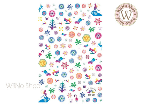 Colorful Christmas Adhesive Nail Art Sticker - 1 pc (R100)