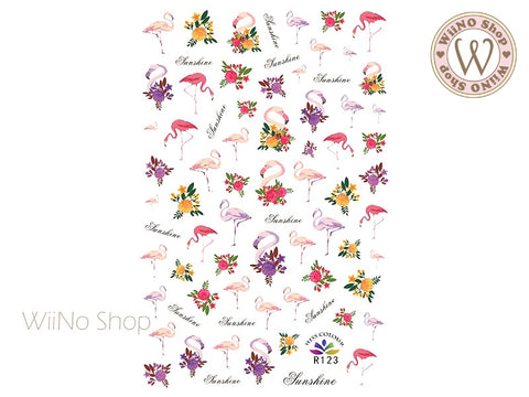 Flamingo Flowers Adhesive Nail Art Sticker - 1 pc (R123)