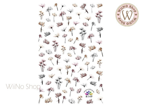 Vintage Floral Adhesive Nail Art Sticker - 1 pc (R149)