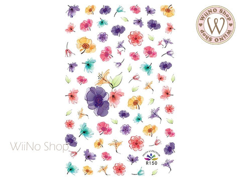 Watercolor Flower Adhesive Nail Art Sticker - 1 pc (R150)
