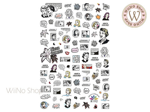 Pop Art Comics Adhesive Nail Art Sticker - 1 pc (R192)