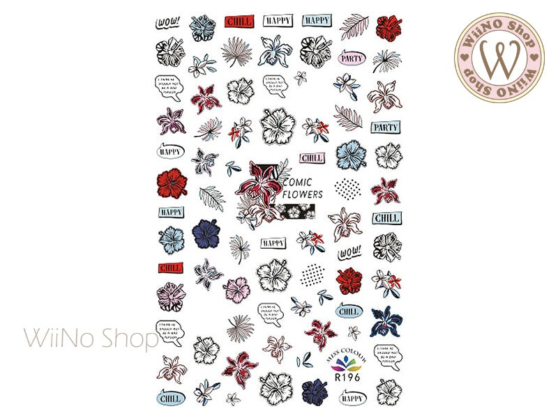 Comic Flowers Adhesive Nail Art Sticker - 1 pc (R196)