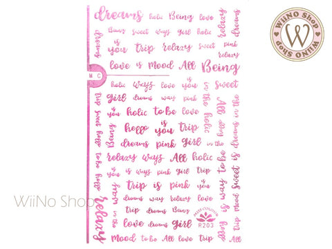 Pink Chrome Letter Adhesive Nail Art Sticker - 1 pc (R203)