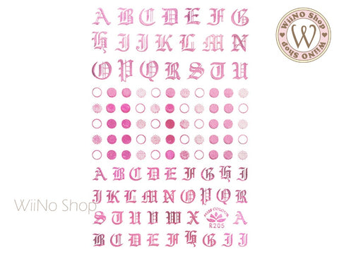 Pink Chrome Alphabet & Dots Adhesive Nail Art Sticker - 1 pc (R205)