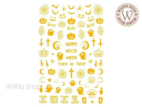 Gold Halloween Adhesive Nail Art Sticker - 1 pc (R233G)