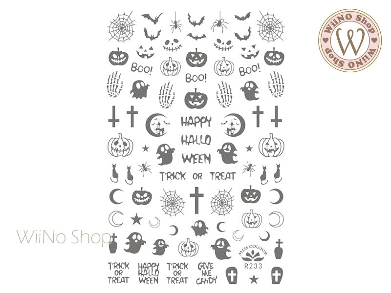 Silver Halloween Adhesive Nail Art Sticker - 1 pc (R233S)